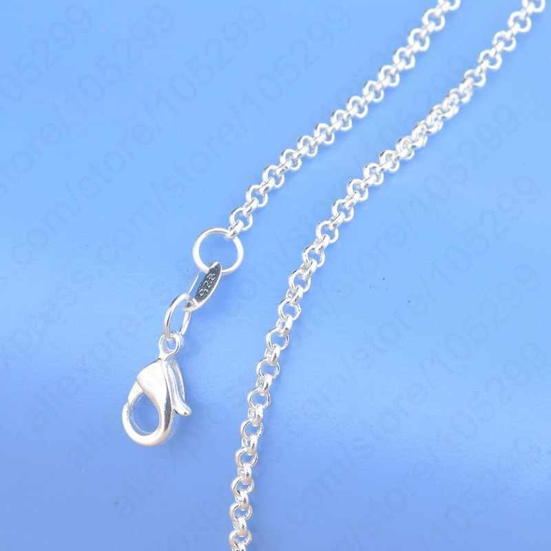 """1PC Retail Real 925 perła z polerowanego srebra naszyjnik z elastycznymi zapięciami homara 16 """"-30"""" do wyboru łańcuchy krzyżowe"""