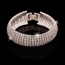 Attractive Women's Romantic Golden Silver Rhinestone Wedding Party Shinny Bangle Bracelet 74KU