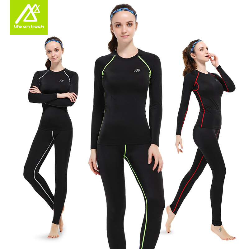 Women Compression Long Sleeve Shirt and Pants Black Color Fitness Clothing Tops tees T shirts Legging