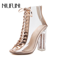 2018 Women Fashion Peep Toe Transparent Lace up Crystal Square Bling High Heel Party Wedding Pumps Female Casual Zip Sandals