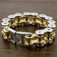 5 Lengths Motorbike Chain 2 Tone 316L Stainless Steel Mens Biker Rocker Punk Bracelet 5S005 Free Shipping