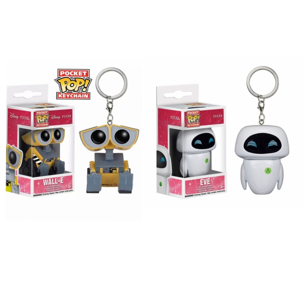POP New Pixar Anime Movie Toys EVE & WALL-E Keychain Vinyl Action Figures Collection Model Toys For Children Christmas Gift