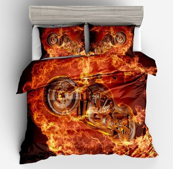 New Fashion breaks flame motorcyc Duvet Cover 2/3pcs British Style Family student dormitory Quilt cover pillowcase Home Textile