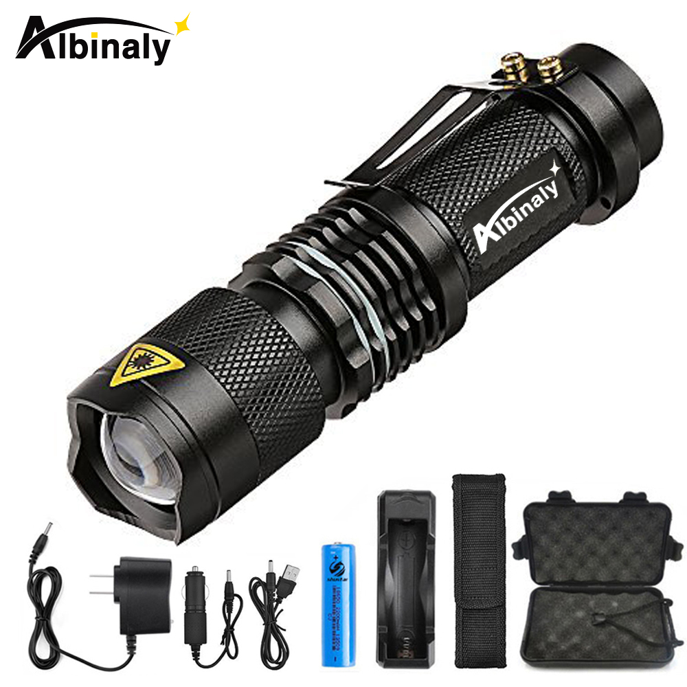 Albinly LED Flashlight Zoom CREE XML-L2 Led Torch 5 mode 8000 Lumens waterproof Use 18650 Rechargeable battery sent free gift 5000lm portable flashlight uniquefire uf 1400 5 mode 4 cree xm l2 led torch lamp for 4 18650 li ion rechargeable battery