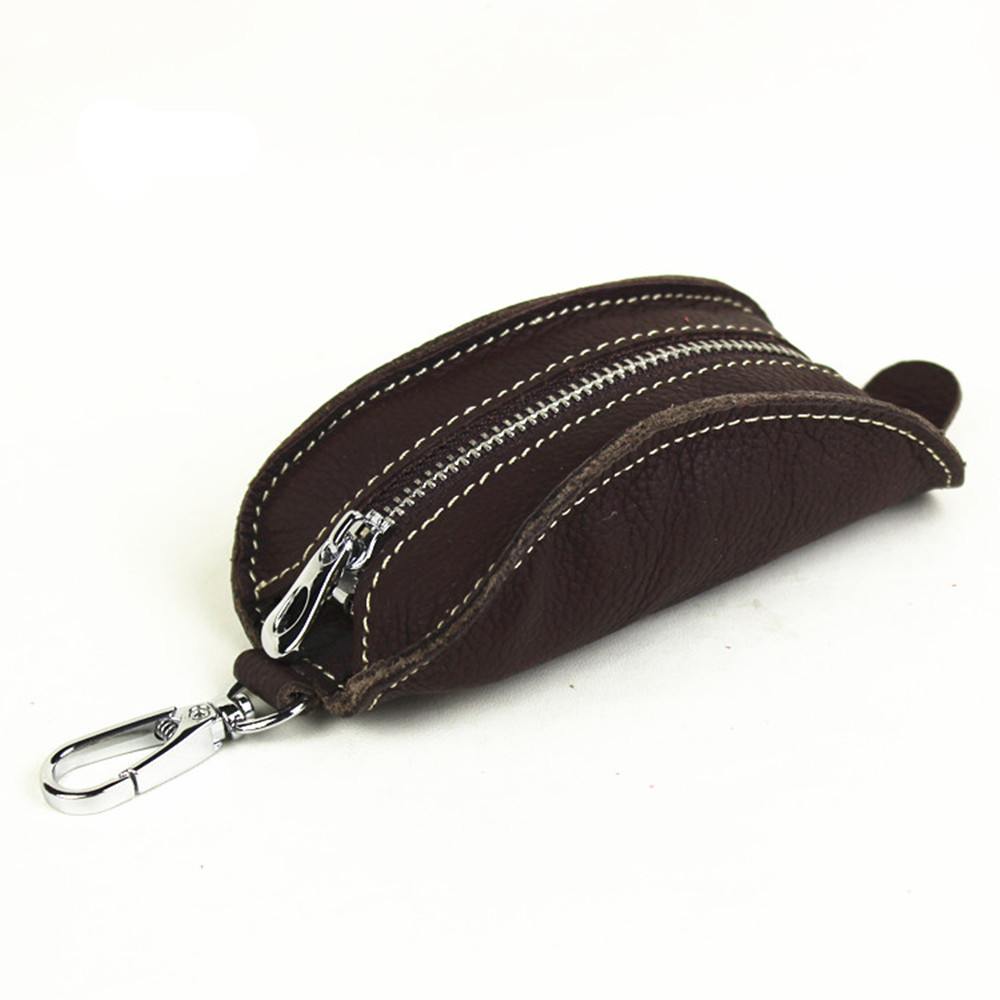 100% Echtem Leder Schlüssel Halter Auto Schlüssel Geldbörsen Keys Männer Organizer Haushälterin Frauen Abdeckungen Reißverschluss Schlüssel Tasche Tasche Geldbörse