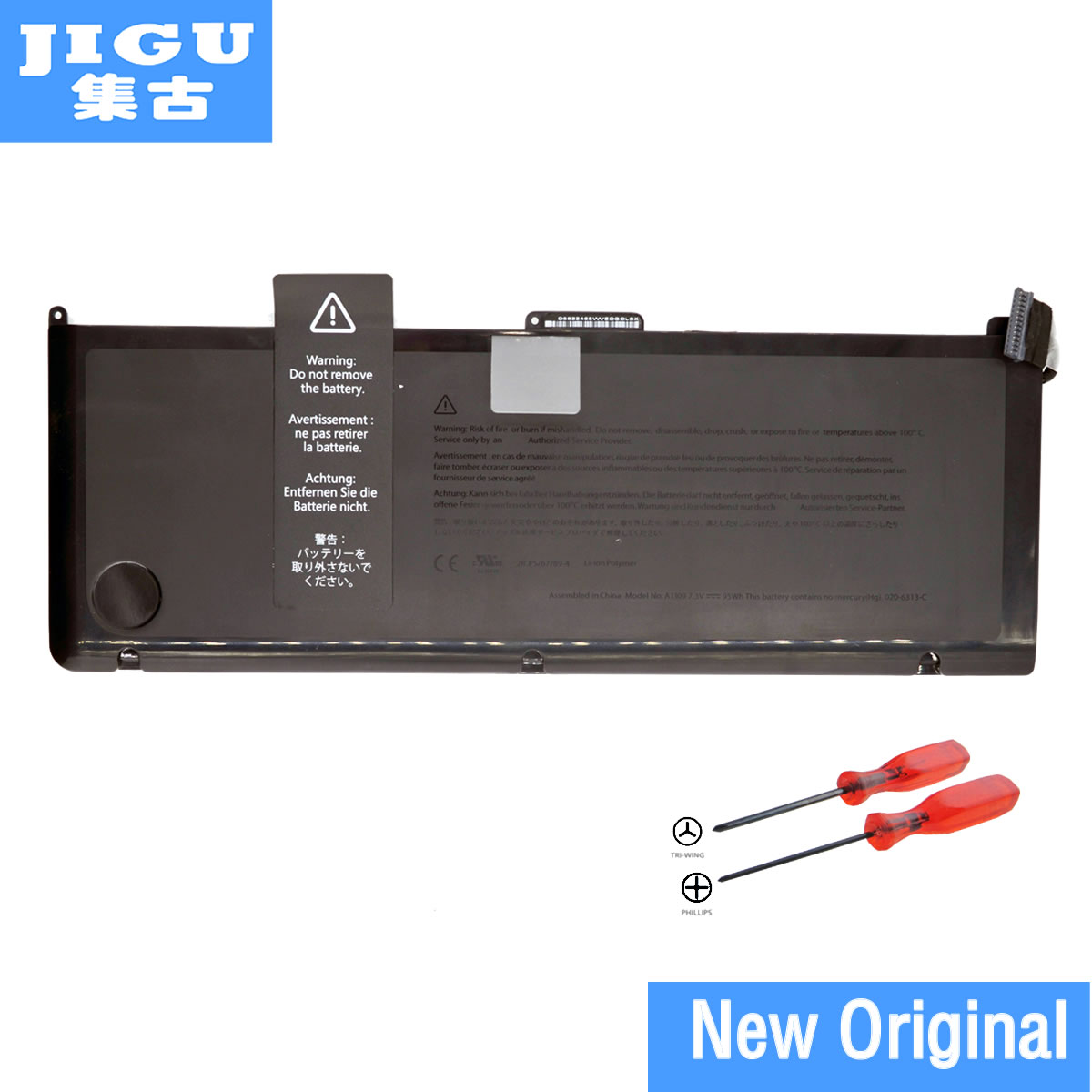 JIGU Free shipping A1309 Original Laptop Battery For APPLE MacBook Pro 17 A1297  [2009 Production] MC226*/A MC226CH/A 95WH free shipping a1417 original laptop battery for apple retina a1398 mc975 mc976 me664 me665 10 95v 95wh