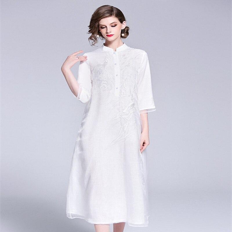 Blanco rojo Vintage Prom vestido femenino otoño 2018 mujeres exquisito bordado Becerro de La Manga del cuarto de tres más El vestido del tamaño 1950 s - 5