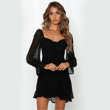Solid Color Long Flared Sleeves Ruffles Chiffon Dresses For Women Ladies Strapless  Evening Party Female Mini Dress