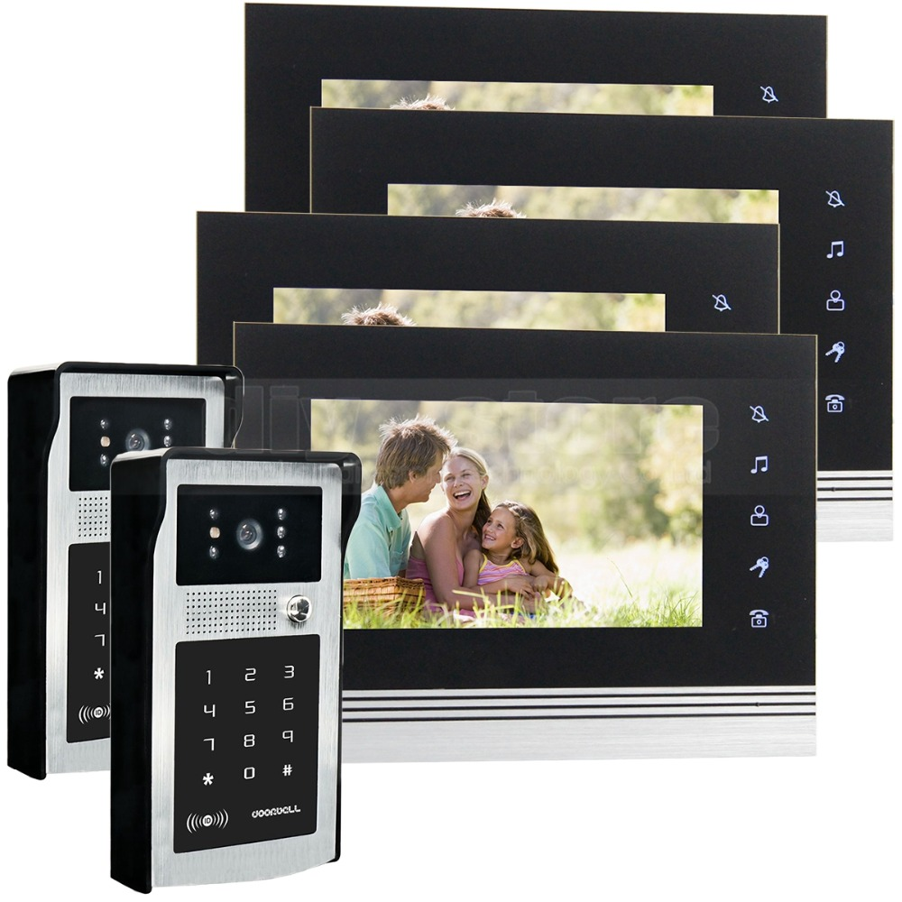 DIYSECUR 7 inch Touch Button Video Door Phone Intercom Doorbell IR Night Vision HD 300000 Pixels RFID Keypad Camera 2V4