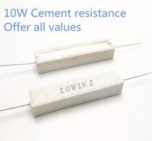 5pcs 10W 62 68 75 82 91 100 110 120 ohm 62R 68R 75R 82R 91R 100R 110R 120R Ceramic Cement Power Resistance Resistor 10W 5%