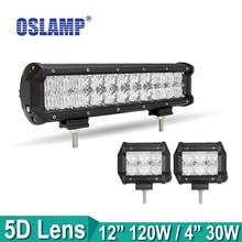 "5D Oslamp CREE Chips Lente 120 W 12 pulgadas Auto Combo Led Light Bar o Campo A Través SUV 4 ""del Trabajo del Led Luz de Conducción Led Bar para el Barco Del Coche ATV"