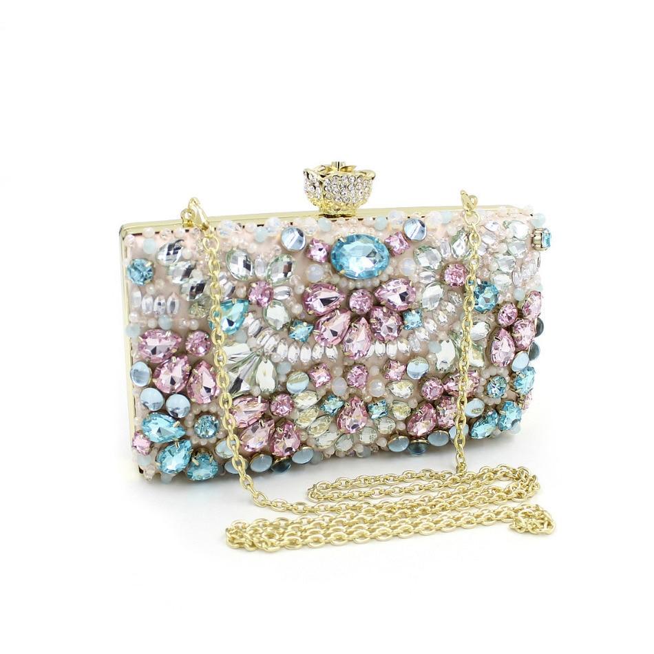 ФОТО New Women Handmade Beaded Clutch Bag Elegant Crystal Rhinestone Diamond Pearl Evening Party Purse Banquet Rose Head Pink