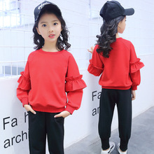 New Arrivals 2018 Spring Kids Clothes Casual Children's Set Sport Suit Tops +Pants 2 Pcs Girls Clothing Set 10 11 12 13 14 Years