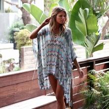 Melflow Boho Beach Mini Dress Woman Lace Crochet Hollow Mini Cover-Ups Dress Hollow See Through Swimwear Kaftan Batwing Cover Up цены