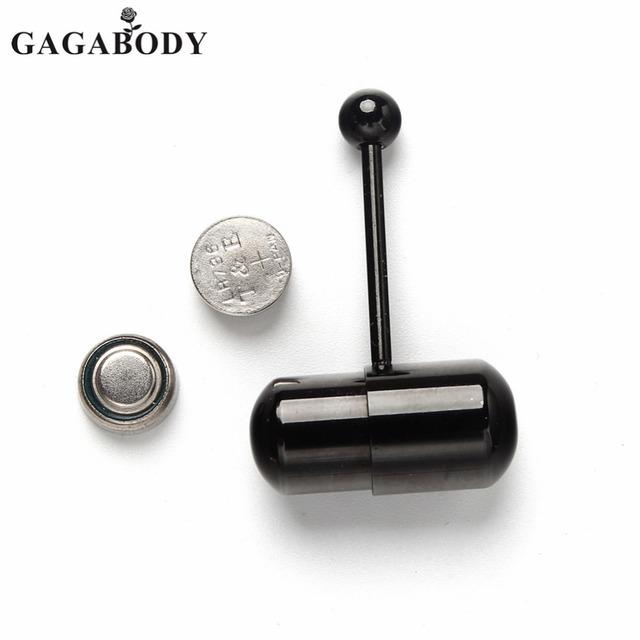 14G Classic Black Steel Vibrating Tongue Rings
