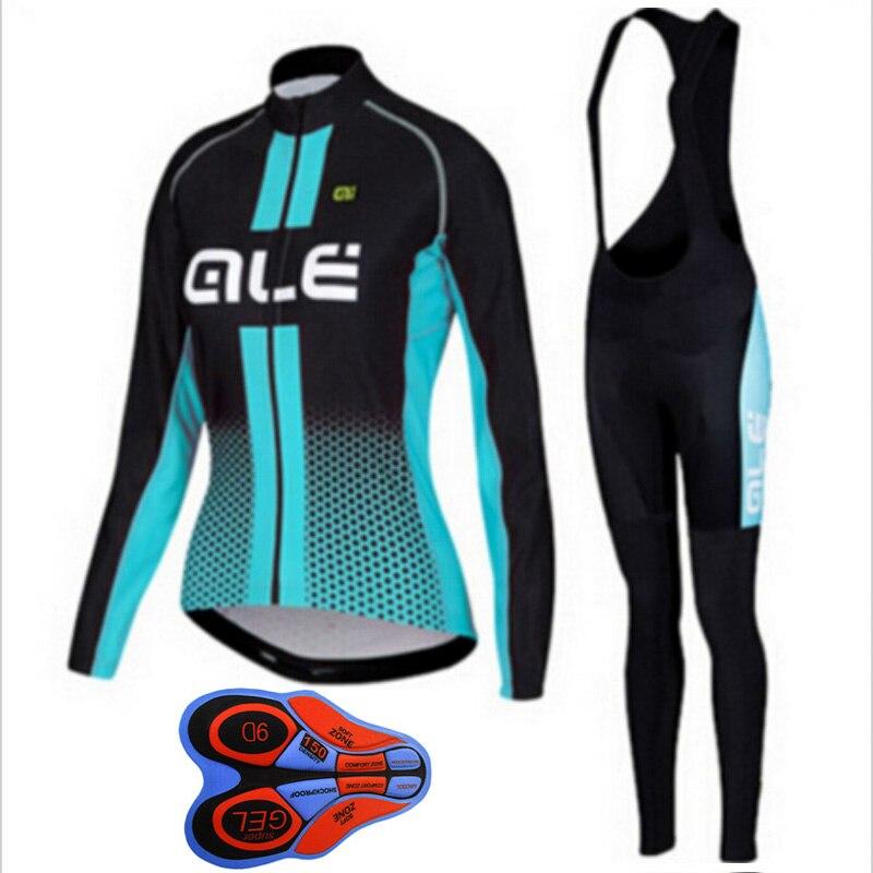 Cycling Jersey 2018 ALE Women Long Sleeve bib pants set Breathable Bicycle Clothing mujer uniformes ciclismo hombre L13 shengqi men s long sleeve cycling jersey pants set green black m