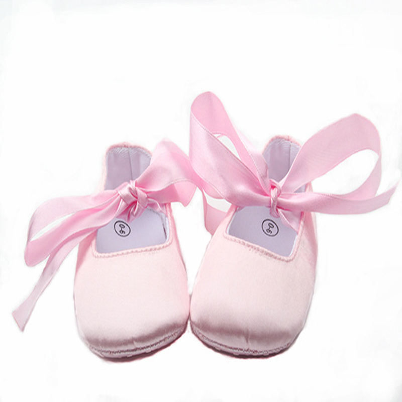 Wholesale Baby Shoes Satin Pink Sweet Princess Shoes Baby Girl Ballet Shoes Ribbons Infant Prewalker