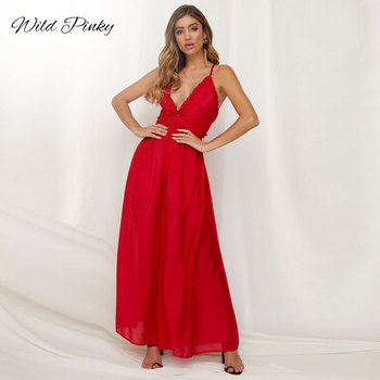 WildPinky Spaghetti Strap Ruffles Jumpsuit Romper Summer Sexy Backless Long Pants Women Jumpsuit Female Red Jumpsuit Overalls wildpinky women romper solid puff sleeve jumpsuit summer short pleated overalls jumpsuit female chest wrapped strapless playsuit