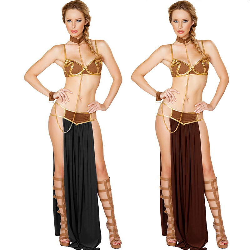 2018 New Sexy Carnival Star Wars Cosplay Princess Leia Slave Costume Dress Gold Bra and Neckchain