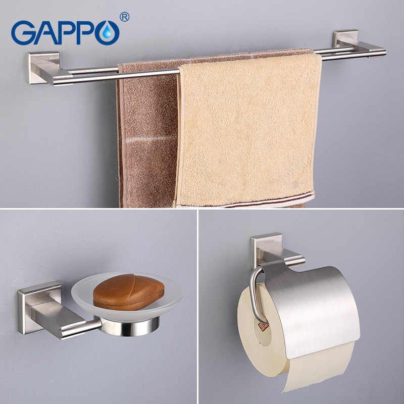 GAPPO wanna zestawy sprzętu ze stali nierdzewnej uchwyt na ręcznik kąpielowy mydelniczki posiadacze papieru wieszak ścienny szczotka wc łazienka akcesoria