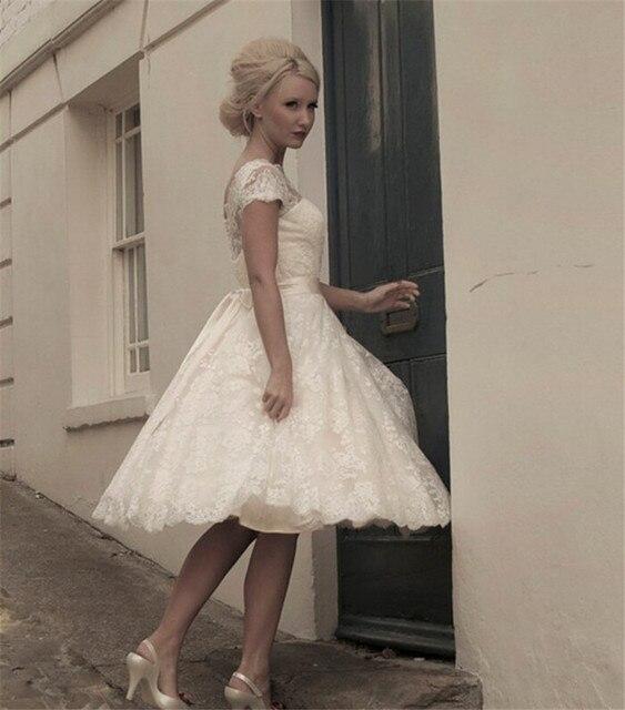Corto vestido de novia de encaje scoop escote manga casquillo ...