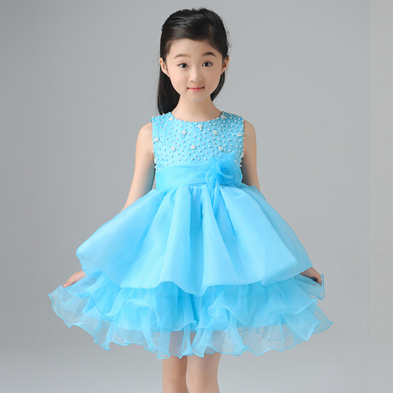 1-12Y royal ball gown princess dress beading knee-length girls pageant dress for party costume sleeveless flower girl dress