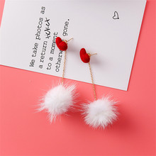 Plush Fur Pompom Drop Earrings For Women Ladies Korean Cute Earrings with Pompoms Girls Party Jewelry Accessories Gift Sales