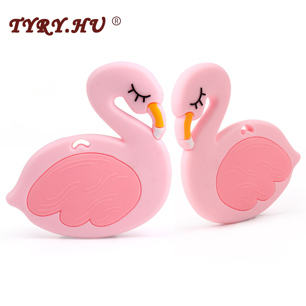 TYRY.HU 1Pc Flamingo Baby Silicone Teether Food Grade Silicone Beads Necklace Pendant BPA Free Baby Teething Toy Accessories tyry hu 1pc christmas tree shaped baby girl silicone teether rodents beads teething transducer pendant necklace food silicone