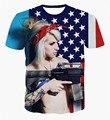 Alisister más nuevo 2017 hombres de la manera/de las mujeres 3d t shirt print pistola/bandera americana t-shirt clothing harajuku corto manga de la camiseta