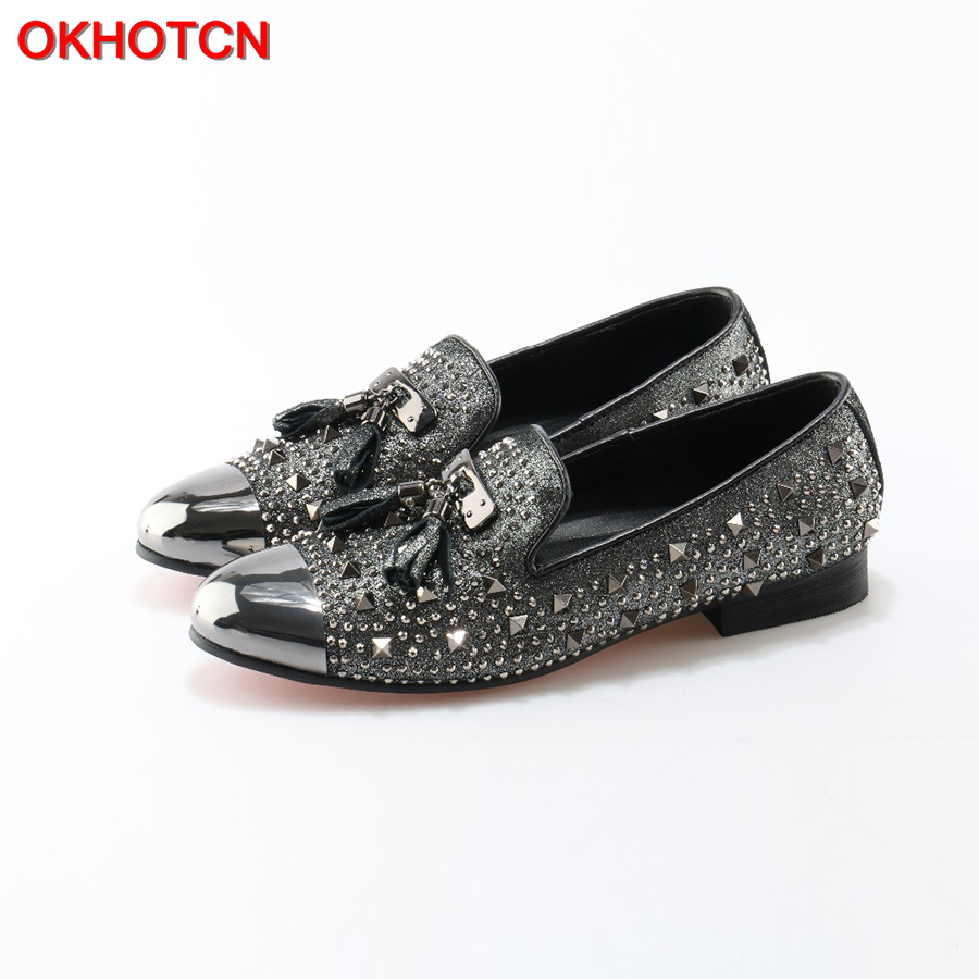 OKHOTCN 2018 NEW Men Shoes Slip On Lazy Loafers Fashion Rivets Crystal Men's shoes Metal Toe Tassel Casual Breathable Men Flats 2017 brand new spring men fashion loafers shoes slip on flats genuine leather shoes young men breathable casual shoes wa 32