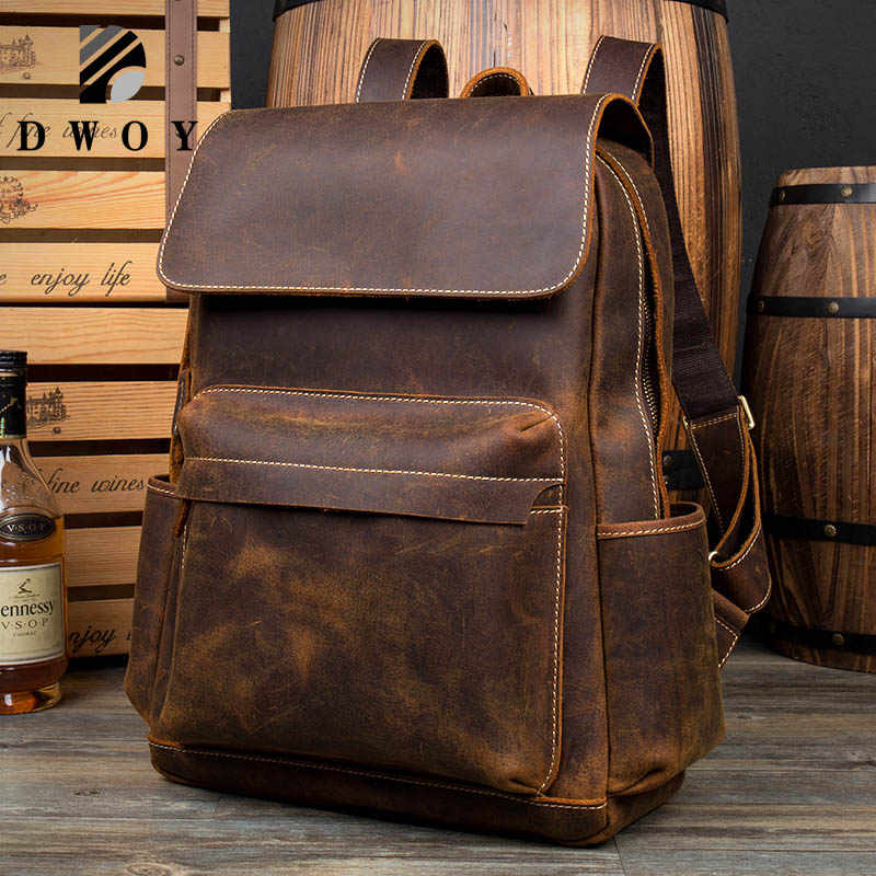 Leather Backpack Men Luxury Big Capacity Brown Crazy Horse