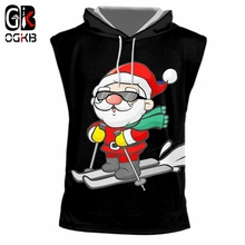 c18e132c13dd1 OGKB Man Christmas Trend Sleeveless Hoodede Tank Top 3D Printed Ski And  Sunglasses Santa Claus New
