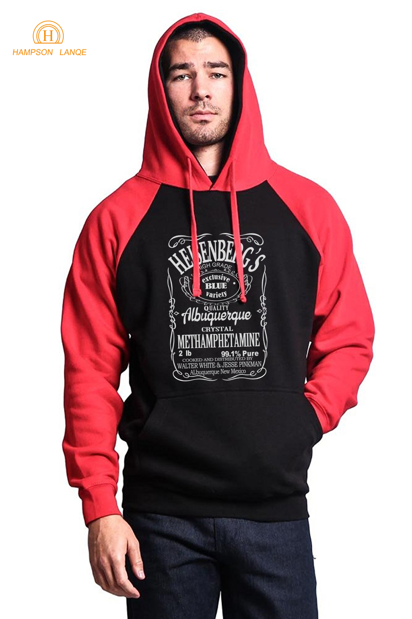 Breaking Bad Heisenberg Casual Hoodies Men 2019 Autumn Winter Fleece Raglan Sweatshirts Men's Sportswear Loose Fit Streetwear