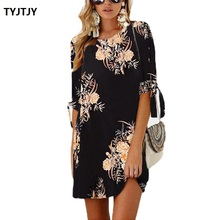 Dresses summer 2018 Fashion New Fashion Sleeve Print Tie Round Neck Dress Women dress female hot women dress plus size vestidos цена 2017