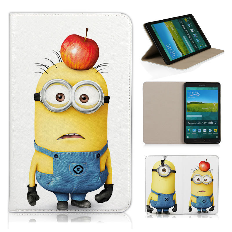 Batianda Lovely Minions Two Eyes Magnetic Flip PU Leather Cover Case for Samsung T S Samsung Galaxy Tab S 8.4 8.4 T700 T705C