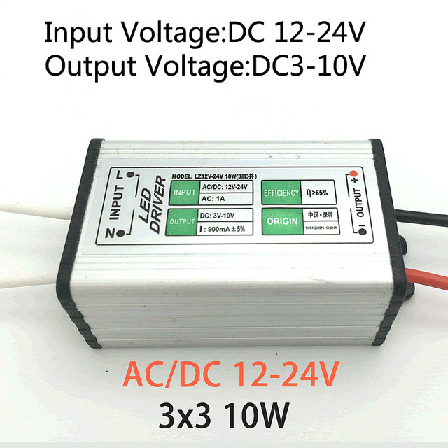 12v 24v dc to 3 10v dc 10w 900ma led driver adapter transformer12v 24v dc to 3 10v dc 10w 900ma led driver adapter transformer switch power supply ip67 for floodlight (3 series 3 parallel)