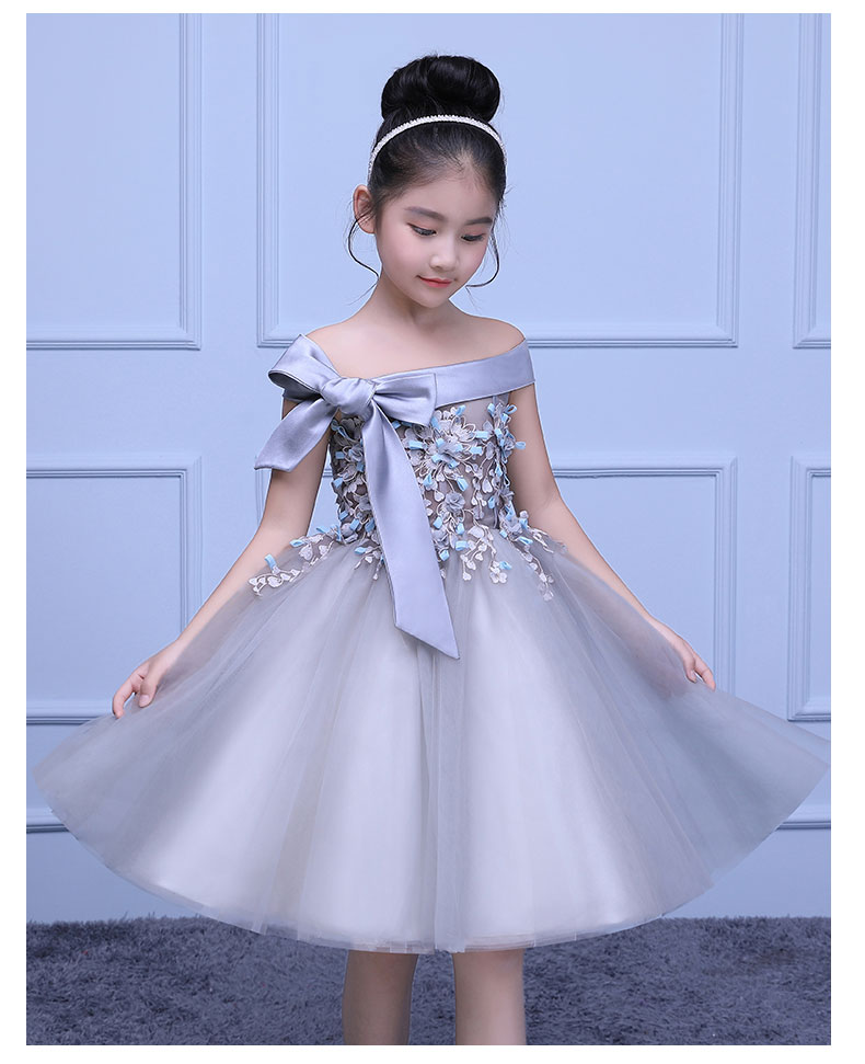 silver flower girls dresses for wedding gowns shoulderless