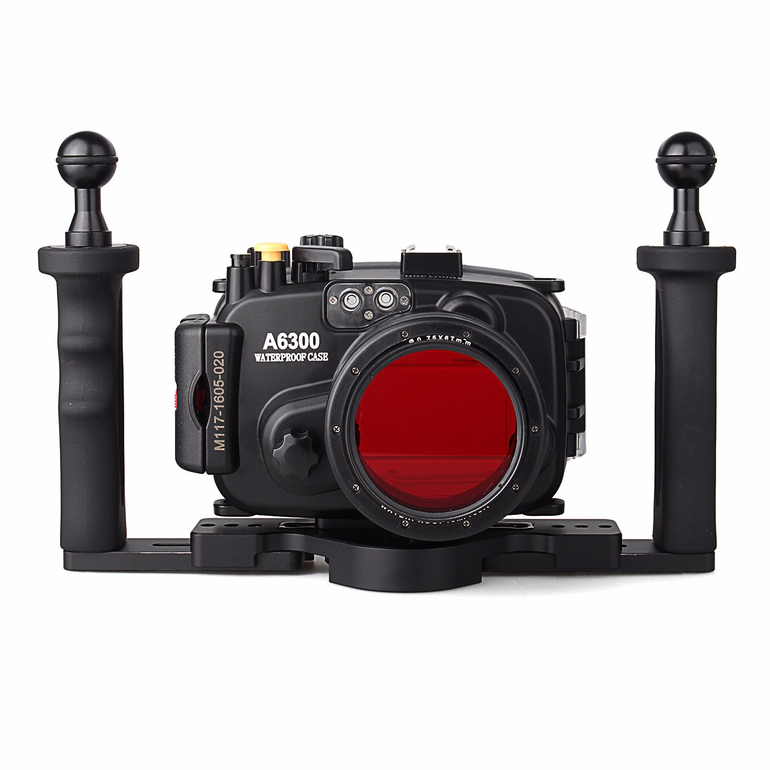 Meikon 40m/130ft Waterproof Underwater Camera Housing Case for A6300 16-50mm Lens + Two Hands Aluminium Tray + 67mm Red Filter