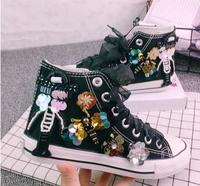 Sequins 2019 New Children's Canvas Shoes Girl High Top Kids Shoes Flat Autumn Students Shoes