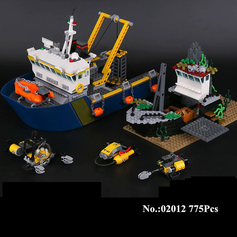 H&HXY City 02012 775Pcs Deepwater Exploration Vessel Children Educational Building Blocks Bricks Lepin Toys Model Funny Boy Gift sermoido 02012 774pcs city series deep sea exploration vessel children educational building blocks bricks toys model gift 60095