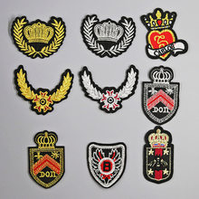 gold silver Embroidered Iron on Patches for Clothing DIY Stripes Clothes Stickers Custom Badges Squirrel cute patch Wing(China)
