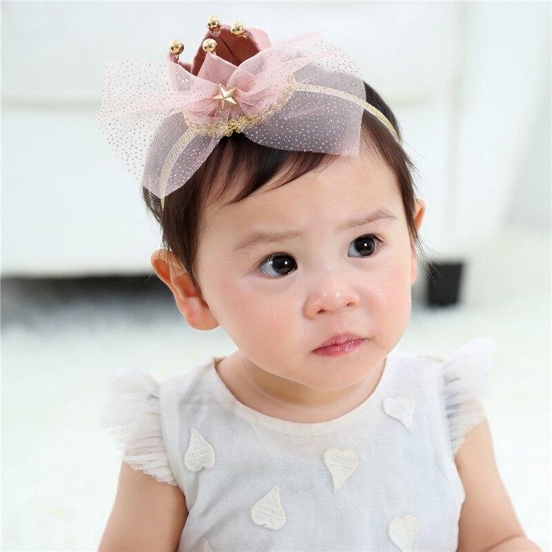 Girls Large Chiffon Bow Knot Headband With Satin Crown Baby Newborn Hair Accessories Infant Birthday Headwear Children Hairbands