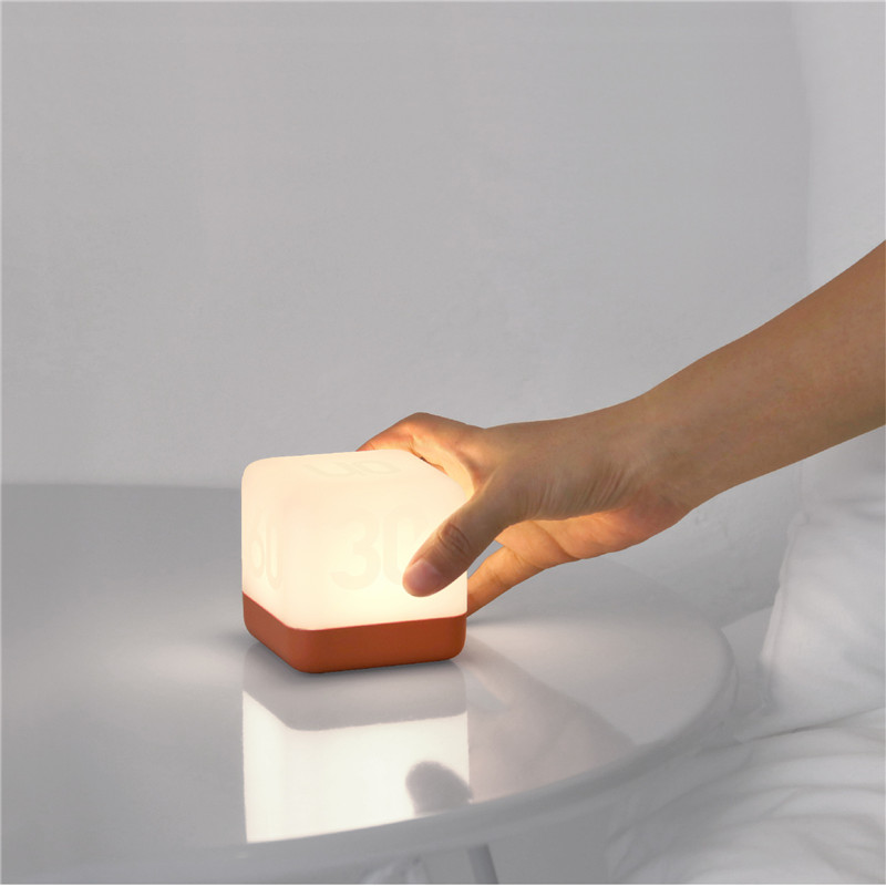 Creative USB Charging LED Timing Lamp Square Shape Bedside Table Night Light Home Bedroom Decor