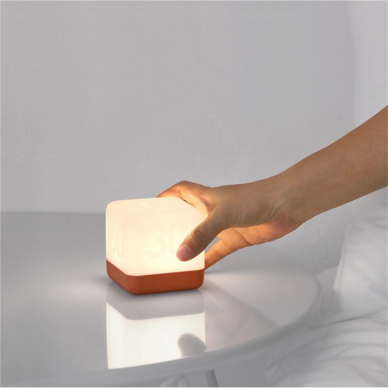 Creative USB Charging LED Timing Lamp Square Shape Bedside Table Night Light Home Bedroom Decor