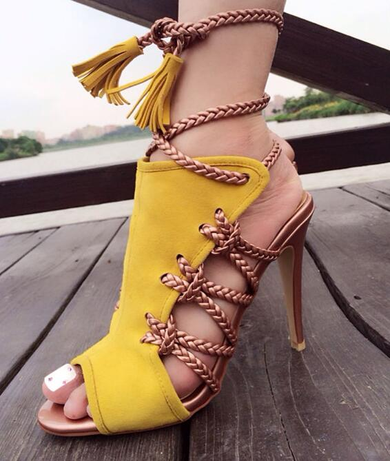 Sexy open toe lace-up sandal summer newest cutouts gladiator sandal yellow suede fringed Rome style sandal thin heels sandal