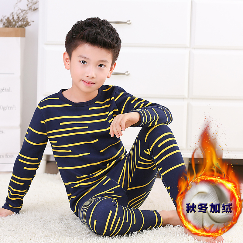 Children's thermal underwear suits with velvet winter cuhk child upset the baby boy warm clothes 12 to 15 at the age of 13 to 15 di guo bao wang double sided with velvet men s thermal underwear suits grey size xl