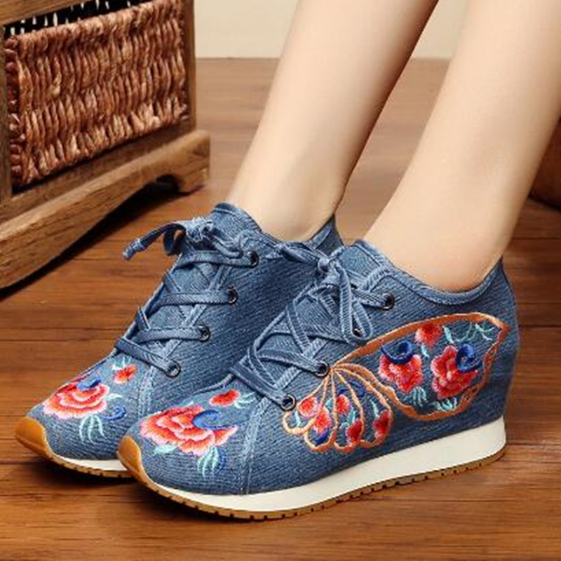 Retro Flower Embroider Lace up Canvas Shoes for Women Round Toe Ethnic Flat Autumn Ladies Loafers Runway Shoes Casual Sneakers 5