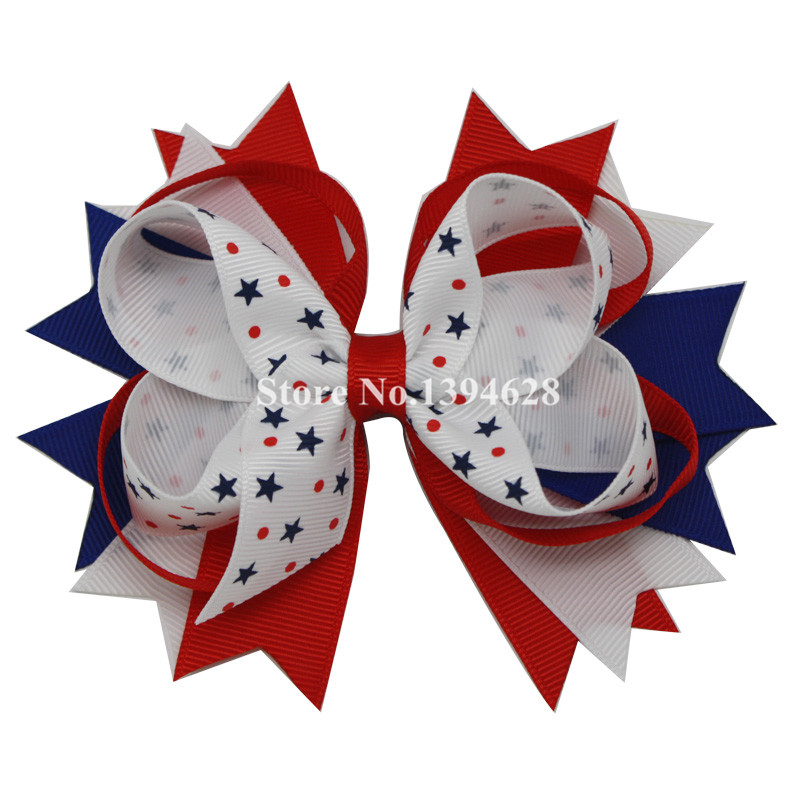 NEW 4th Of July Boutique Bows With 6cm Hair Clip,Red,Blue,White With Star Bows,Grosgrain Ribbon Bows, Hair Accessories fever opaque hold ups with red bows and cross applique чулки для медсестры