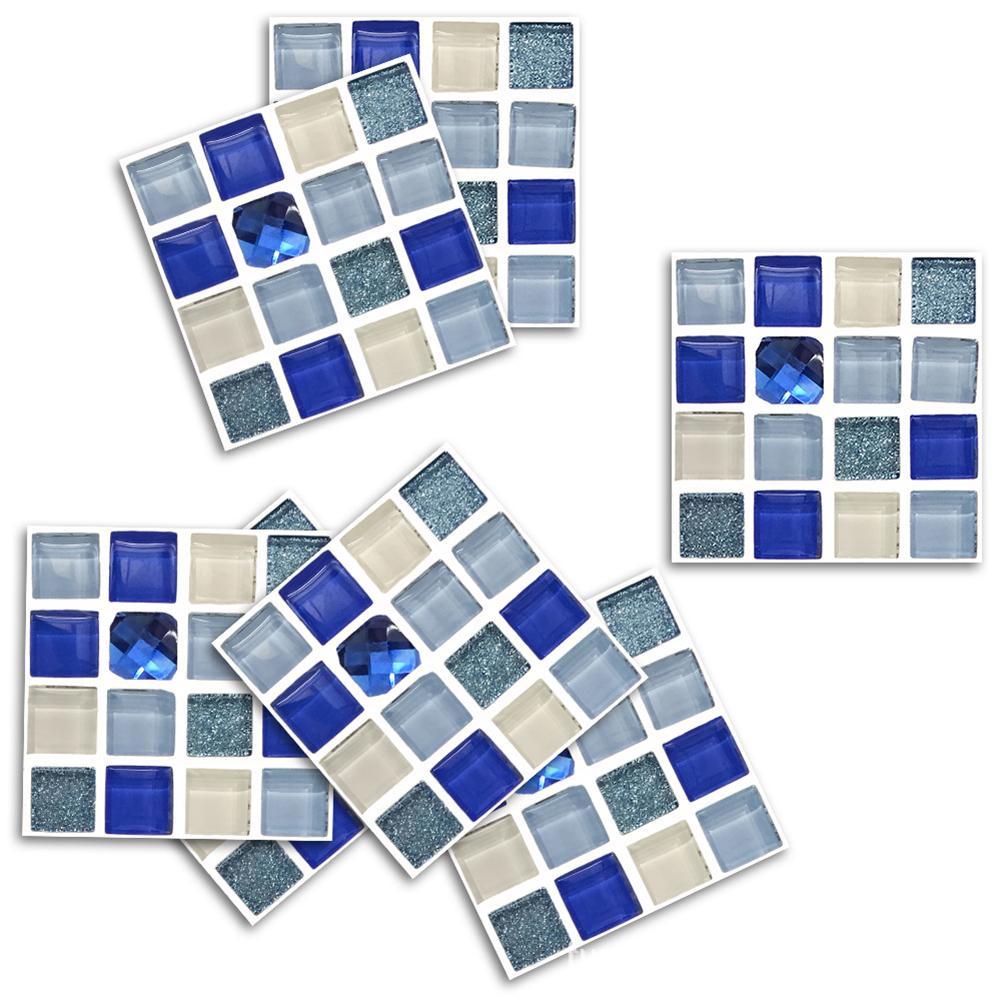 18pcs 10*10cm Artificial Crystal Glass Mosaic Self Adhesive ...