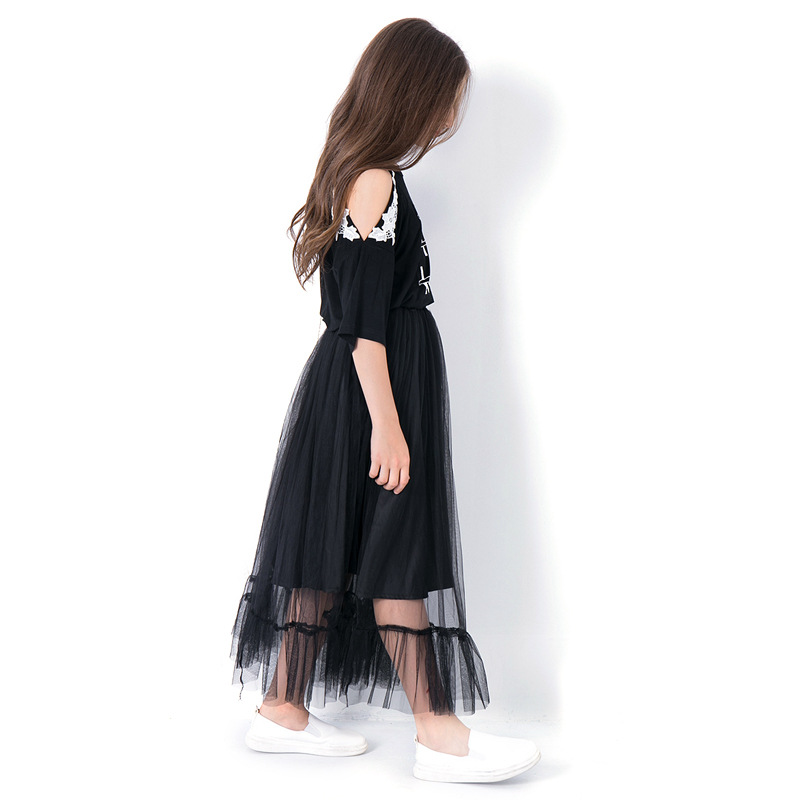 Teen Girls Clothing Sets 10 11 12 14 years Girls Half Sleeve Summer Girls Clothes 2pcs Off shoulder Tops Black Mesh Skirts in Clothing Sets from Mother Kids